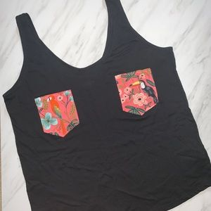 Rifle Paper Co Pocket Old Navy Sleeveless Blk Top